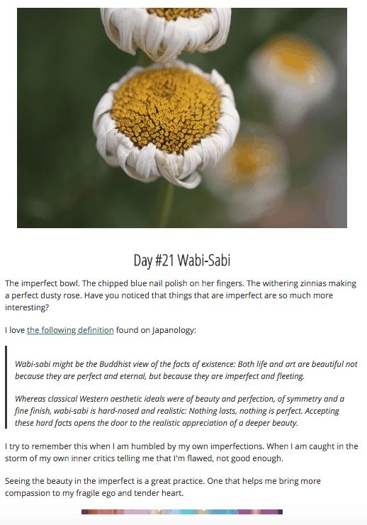 Wabi-Sabi + a sneak peek into joy-seeking class. It starts today!